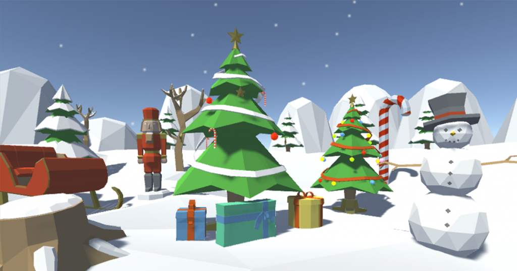 The example scene of the Low Poly Winter Pack