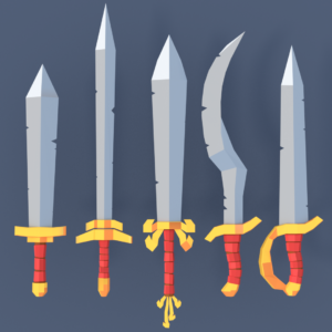 Some swords of the Low Poly Fantasy Weapons pack